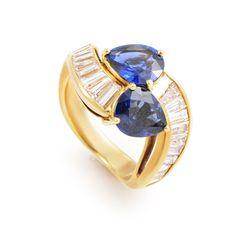 Graff 18K Yellow Gold Diamond and Sapphire Ring #GraffDiamonds