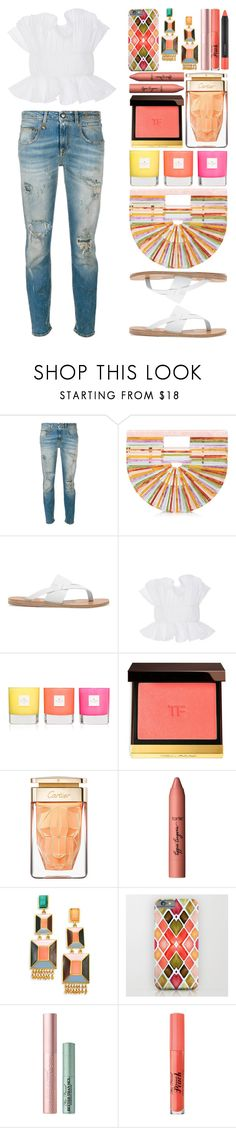 """#118"" by theevilraccoon ❤ liked on Polyvore featuring R13, Cult Gaia, Ancient Greek Sandals, Johanna Ortiz, Kate Spade, Tom Ford, tarte, Paula Mendoza, Too Faced Cosmetics and MAC Cosmetics"