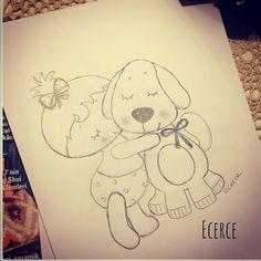 😌🖤 #ecerce #çizim #baby #dog #keçe #felt #feltro #fieltro