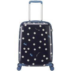 Radley Vintage Dog Dot Suitcase - Small (£139) ❤ liked on Polyvore featuring blue