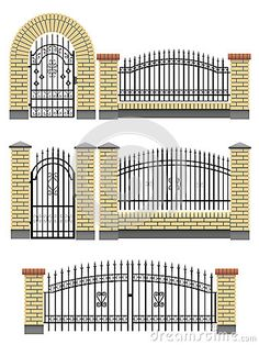 Photo about Vector gate, wicket and fences with yellow brick columns and a metal lattice, isolated on white. Illustration of isolated, door, boundary - 26669739 Brick Columns, Brick Fence, Front Yard Fence, Fenced In Yard, Fence Stain, Gabion Fence, Low Fence, Small Fence, Pallet Fence