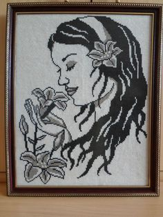 RIOLIS COUNTED CROSS STITCH - A LADY WITH FLOWERS (18 x 14.5 inch), (45 x 36cm)