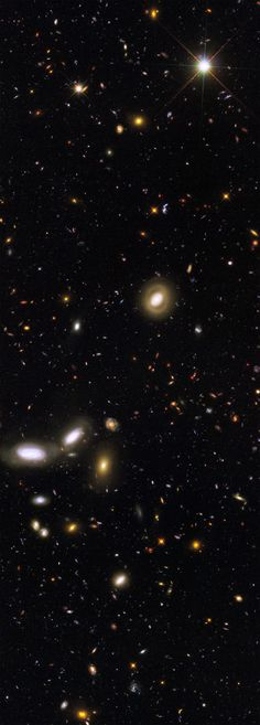 """This Hubble image is one of several, including the Ultra Deep Field, which peer into seemingly empty space, leaving the camera shutter open for hours, and reveal that billions of galaxies made up of billions of stars fill our skies in every direction as far as we can possibly see, separated by almost unimaginable distance and time, yet still reachable, visible as an image of their long-ago selves."""