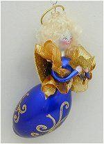 Soffieria De Carlini Italian Blown Glass Ornaments Blown Glass Christmas Ornaments, Christmas Angels, Singing, Holiday Decor, Blue