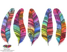 Five Rainbow Feathers Watercolour Print by SarahTravisArt on Etsy