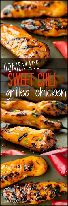 Homemade Sweet Chili Grilled Chicken: Grilled chicken with homemade sweet chili sauce – the perfect sweet and spicy combo! Make it as spicy or as mild as you want. Great straight on the grill or on skewers or kabobs (or kebabs)! www.thereciperebel.com