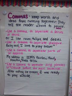 My Life as a Third Grade Teacher: Currently and Commas 3rd Grade Writing, Middle School Writing, Third Grade, Grade 3, Teaching Grammar, Teaching Writing, Teaching Ideas, Writing Activities, Teaching English