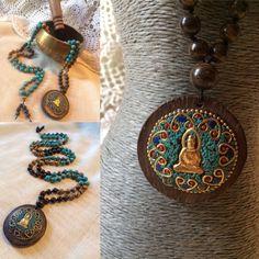 by MalasByTini on Etsy Finding Inner Peace, Prayer Beads, Jasper, Washer Necklace, Buddha, Blue Green, Prayers, Pouch, Velvet
