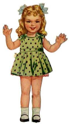 Free freebie printable vintage paper doll