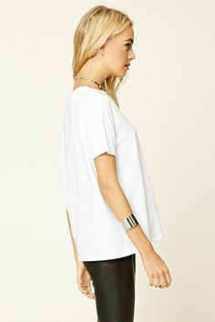 Forever 21 Contemporary - A knit boxy tee featuring a boxy silhouette, short dropped sleeves, and a round neckline.
