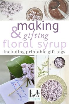 I love making simple syrup from lilacs, honeysuckle, roses, and so many other fragrant flowers. Now, with these printable gift cards, it's super easy to give lilac syrup as a special gift. #floralsyrup #lilacsyrup #simplesyrup