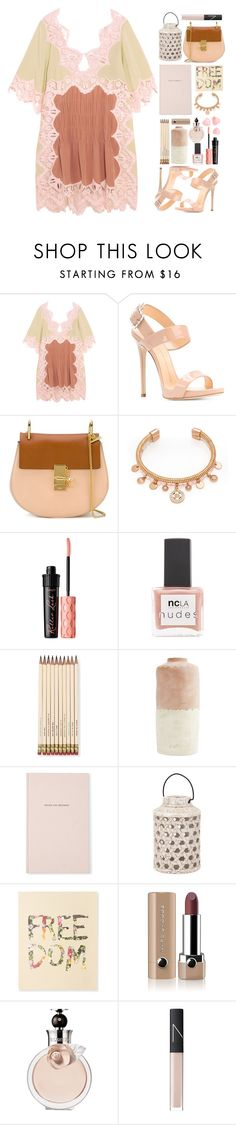 """I love this dress"" by fashionvek ❤ liked on Polyvore featuring Chloé, Giuseppe Zanotti, Henri Bendel, Benefit, ncLA, Kate Spade, Aéropostale, Marc Jacobs, Valentino and NARS Cosmetics"