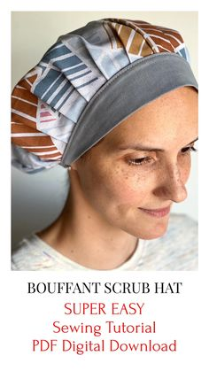 Scrub Hat Patterns, Hat Patterns To Sew, Sewing Patterns, Hat Pattern Sewing, Scrubs Pattern, Hat Tutorial, Diy Scrub, Sewing Projects For Beginners, Scrub Caps