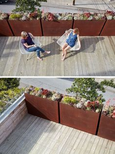 This deck with views of downtown San Francisco, has weathered steel planters that are filled with succulents.