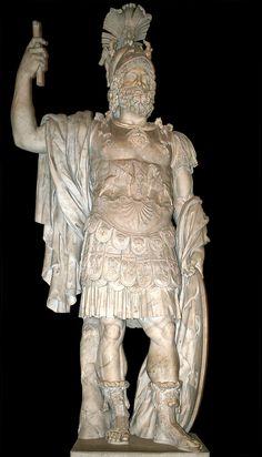 """Ares, der griechische Gott des Krieges, war der Sohn von Zeus und Hera.  Der Lateinische Name von Ares ist """"Mars""""."""