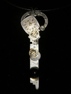 Repurposed Key Necklace Eagle Lock Co Watch Parts by 8muddyfeet, $13.50