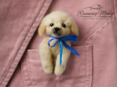 Almost too cute. . . . .Cute puppy pocket brooch. Needle by RunningMouse