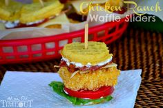 Chicken Ranch Waffle Sliders Recipe | Mom On Timeout