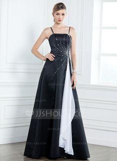 A-Line/Princess Floor-Length Satin Mother of the Bride Dress With Sash Beading Cascading Ruffles (008003185) - JJsHouse