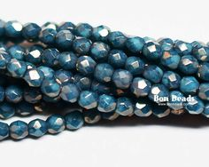 3mm Turquoise Moondust Round Fire Polished @ www.bonbeads.com