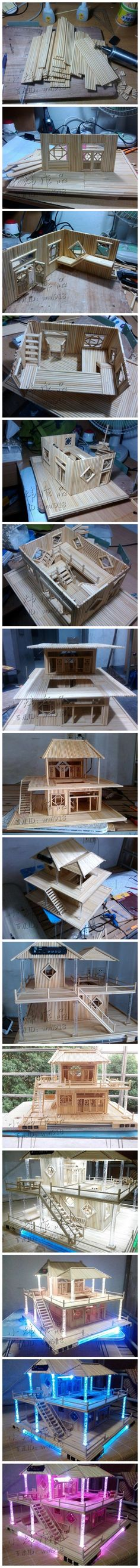 diy&craft,amazing,just use chopsticks!!! - Fairy Lights Terrace Popsicle House, Popsicle Stick Houses, Popsicle Stick Crafts, Craft Stick Crafts, Wood Crafts, Miniature Crafts, Miniature Houses, Miniature Dolls, Miniature Furniture