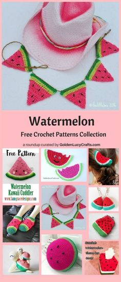 This pattern is for a crochet Watermelon and it can be used as an applique or as a coaster. Easy and fun summer crochet project! Quick Crochet, Crochet Fall, Love Crochet, Crochet Gifts, Crochet For Kids, Knit Crochet, Crochet Flower, Crochet Bunting Pattern, Knitted Bunting