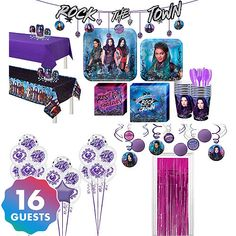 Super Descendants 3 Deluxe Party Kit for 16 Guests Table Covers Banners 5th Birthday Party Ideas, Elmo Party, Party Kit, 8th Birthday, Ideas Party, Disney Descendants, Descendants Cake, Kids Party Supplies, Party Guests