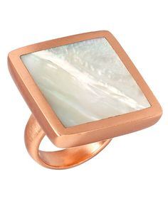 Mother-of-Pearl Inlay Boxy Ring by LMD