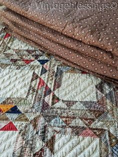 Beautiful Large CIVIL WAR era ANTIQUE Wholecloth Brown QUILT 83x84""