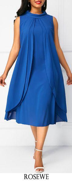 Royal Blue Layered Sleeveless Chiffon Dress.#Rosewe#chiffon#dress