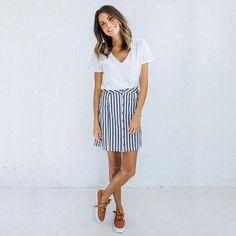 Clad and Cloth Vineyard Stripped Skirt $52
