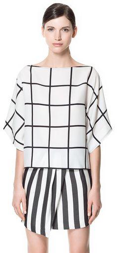 Tendance : Quadrillé noir et blanc - Black and white Squared print - Zara Blouse