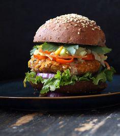BBQ Lentil Veggie Burger with Mango Carrot Slaw. Vegan Recipe   Vegan Richa