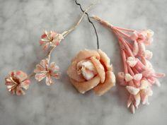 Vintage 1950s millinery flowers assorted peachy pink velvet 3 piece lot