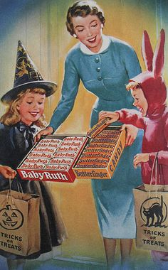 1940s Vintage Halloween Advertisement. Back when I was a trick-or-treater, Butterfingers were as precious as gold. Going to make homemade ones for the office party this year!