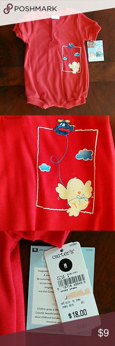 154c3ce52a *New* Carter's onesie Red boys onesie with duckling and helicopter. 100%  cotton