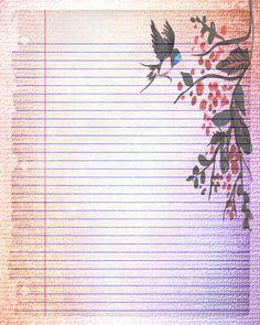 Druckbare Journalseite, Vogel schreiben gefütterte Schreibwaren, 8 x 10 JPG-sofort-Download, Scrapbook Vogel Digital bedruckbare gesäumt Papier, Vogel