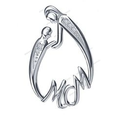 "14K White Gold Plated Round D/VVS1 Diamond Mom  & Baby Pendant With ""Free Pouch"" #giftjewelry22 #MomPendant"