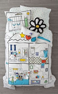 It& a dollhouse playset. Our interactive dollhouse bedding features the cotton comfy construction you want in your kids bedding, plus the imaginative design of a dollhouse. Best Bedding Sets, Bedding Sets Online, Luxury Bedding Sets, Comforter Sets, Modern Bedding, Bed Linen Sets, Linen Duvet, Bed Linen Design, Bed Design