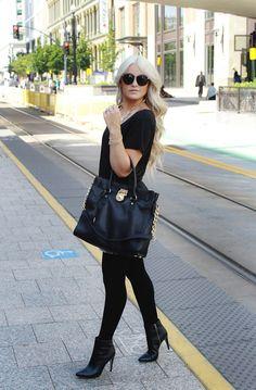opaque black tights + black booties.