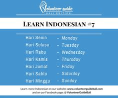 Learn Basic bahasa Indonesia with Volunteer Guide Bali! Whether you are going on a holiday, for an internship or volunteer placement...you will want to be able to communicate and connect with the local community. Our 40 + Easy to learn language videos will help you do that!  Find more information on our website: www.volunteerguidebali.com  And on our FB page: @volunteerguidebali  Todays FREE lesson is about the Days of the Week...enjoy!!