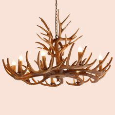 Cottage Style Faux Deer Antler Resin Branch Chandelier with Decorative Antlers - Chandeliers - Ceiling Lights - Lighting Chandeliers, Branch Chandelier, Chandelier Ceiling Lights, Coastal Chandelier, Hanging Lights, Horn, Mountain Cabin Decor, Antler Lights, Log Home Interiors