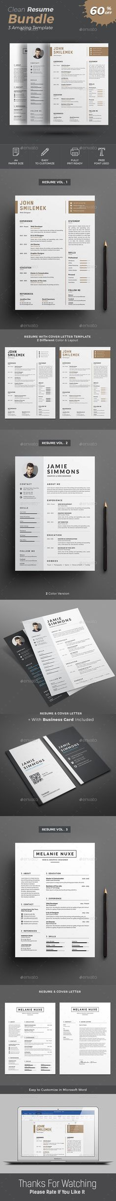 Clean and Professional Resume Set Template