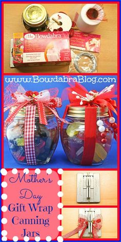 Mother's Day Gift Wrapping Idea Using Mason Canning Jars