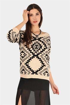 Navajo Print Sweater - Cream