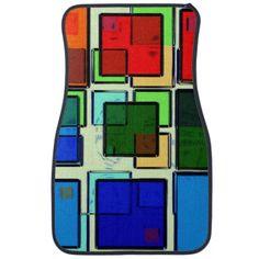 Groovy Retro Geometric Squares Floor Mats