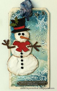 Sparkly Snowman Tag - Layers of ink