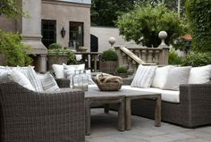 Artwood is the classic wicker look for outdoor entertaining, complimented by solid hardwood furniture with an aged finish. Outdoor Rooms, Outdoor Sofa, Outdoor Living, Outdoor Decor, Outdoor Fun, Garden Furniture, Outdoor Furniture Sets, Porch And Terrace, Interior Design Advice