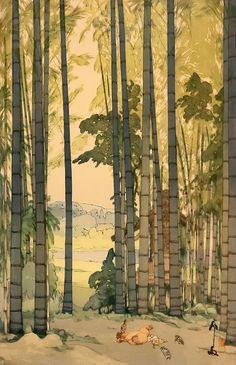 "Japanese Art Print ""Bamboo Grove"" by Yoshida Hiroshi, woodblock print reproduction, asian art, cultu Japanese Illustration, Illustration Art, Graffiti Kunst, Hiroshi Yoshida, Art Asiatique, Art Japonais, Japanese Painting, Landscape Prints, Art Graphique"