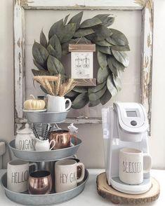Rustic coffee bar corner inspiration! #coffeebar #rustic